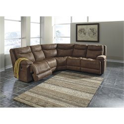 Ashley Valto 5 Piece Reclining Sectional in Saddle