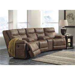 Ashley Valto 5 Piece Reclining Sectional in Saddle 2