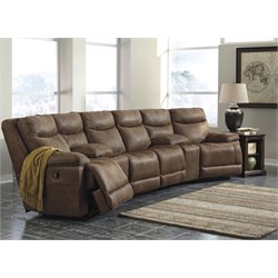 Ashley Valto 6 Piece Reclining Sectional in Saddle