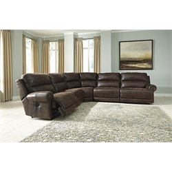 Ashley Luttrell 5 Piece Reclining Sectional in Espresso