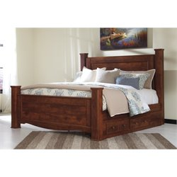 Ashley Brittberg Poster Bed with Storage in Reddish Brown