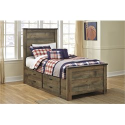 Ashley Trinell Panel Bed with Underbed Storage in Brown