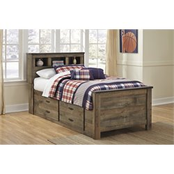 Ashley Trinell Bookcase Bed with Underbed Storage in Brown