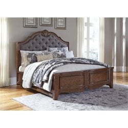Ashley Balinder Upholstered Sleigh Bed in Medium Brown