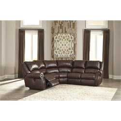 Ashley Collinsville 5 Piece Power Reclining Sectional in Chestnut