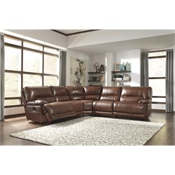 Ashley Kalel 5 Piece Reclining Sectional in Saddle