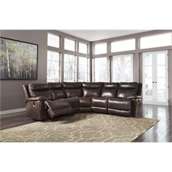 Ashley Zaiden 5 Piece Reclining Sectional in Antique