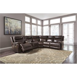 Ashley Zaiden 6 Piece Reclining Sectional in Antique