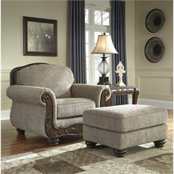 Ashley Cecilyn Accent Chair with Ottoman in Cocoa