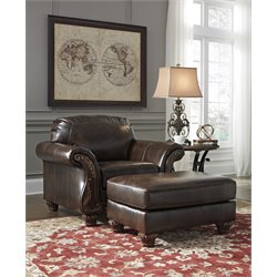 Ashley Vanceton Accent Chair with Ottoman in Antique
