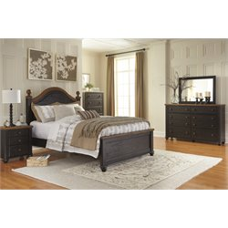 Ashley Maxington 5 Piece Panel Bedroom Set in Black and Reddish Brown