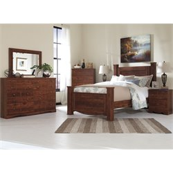 Ashley Brittberg 5 Piece Poster Bedroom Set in Reddish Brown