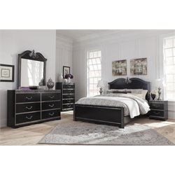 Ashley Navoni 5 Piece Queen Panel Bedroom Set in Black