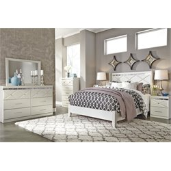 Ashley Dreamur 5 Piece Panel Bedroom Set in Champagne