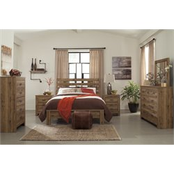 Ashley Cinrey 5 Piece Panel Bedroom Set in Medium Brown 1