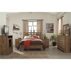 Ashley Cinrey 5 Piece Panel Bedroom Set in Medium Brown 2