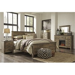 Ashley Trinell 5 Piece Panel Bedroom Set in Brown