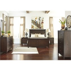 Ashley Timbol 5 Piece Panel Bedroom Set in Warm Brown