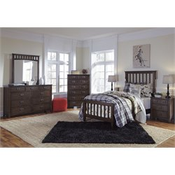 Ashley Strenton 4 Piece Sleigh Bedroom Set in Brown