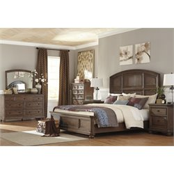 Ashley Maeleen 5 Piece Panel Bedroom Set in Medium Brown