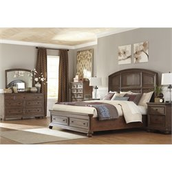 Ashley Maeleen 5 Piece Storage Panel Bedroom Set in Medium Brown
