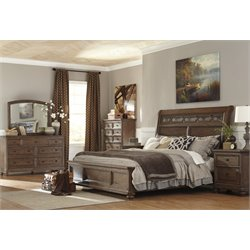 Ashley Maeleen 5 Piece Sleigh Bedroom Set in Medium Brown