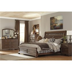Ashley Maeleen 5 Piece Storage Sleigh Bedroom Set in Medium Brown