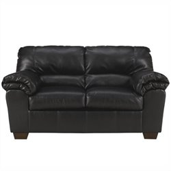 Ashley Commando Faux Leather Loveseat in Black