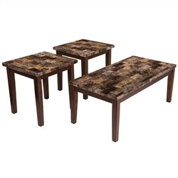 Ashley Furniture Theo 3 Piece Occasional Table Set in Warm Brown