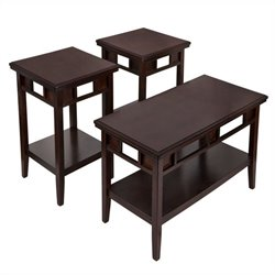 Ashley Furniture Logan 3 Piece Occasional Table Set in Dark Brown