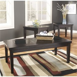 Ashley Furniture Denja 3 Piece Occasional Table Set in Dark Brown