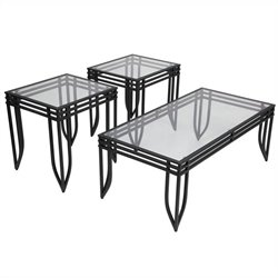 Ashley Furniture Exeter 3 Piece Occasional Table Set in Black