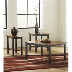 Ashley Furniture Fletcher 3 Piece Occasional Table Set in Dark Bronze