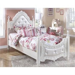 Signature Design by Ashley Furniture Exquisite Padded Poster Bed in White