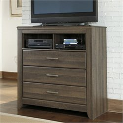 Signature Design by Ashley Furniture Juararo 3-Drawer Media Chest in Dark Brown