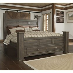 Signature Design by Ashley Furniture Juararo Poster Storage Bed in Dark Brown