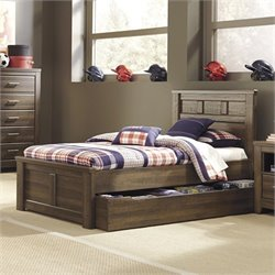 Signature Design by Ashley Furniture Juararo Panel Bed with Trundle in Dark Drown