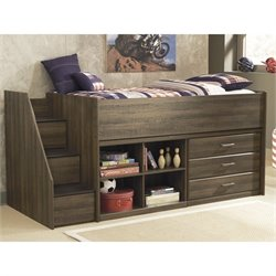 Ashley Furniture Juararo Loft Bed with Open Bookcase in Dark Brown
