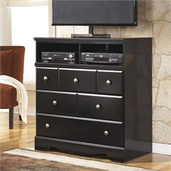 Signature Design by Ashley Furniture Shay 3-Drawer Media Chest in Almost Black