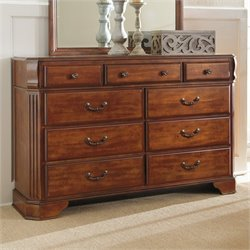 Ashley Furniture Wyatt 9- rawer Double Dresser in Reddish Brown