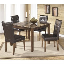 Ashley Furniture Theo 5 Piece Square Dining Table Set in Warm Brown