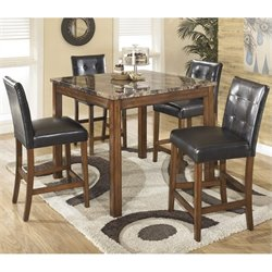 Ashley Furniture Theo 5 Piece Square Counter Table Set in Warm Brown