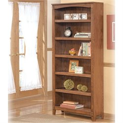 Ashley Furniture Cross Island 6 Shelf Bookcase in Medium Brown