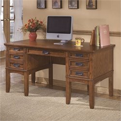 Ashley Furniture Cross Island Office Desk in Medium Brown