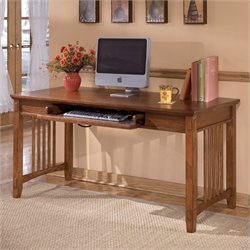 Ashley Furniture Cross Island Large Office Desk in Medium Brown