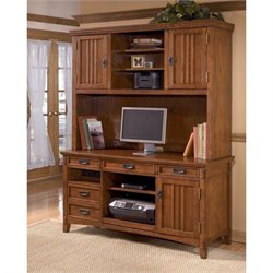 Ashley Furniture Cross Island Credenza and Tall Hutch in Medium Brown