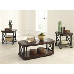 Ashley Furniture Vinasville 3 Piece Occasional Table Set in Medium Brown