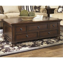 Ashley Furniture Porter Rectangular Cocktail Table in Rustic Brown