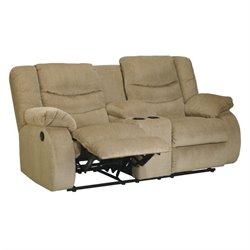 Ashley Furniture Garek Double Reclining Loveseat and Console in Sand
