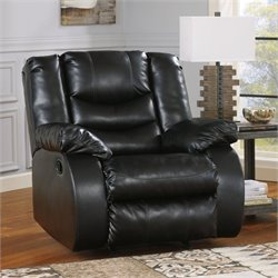 Ashley Furniture Linebacker Leather Rocker Recliner in Black